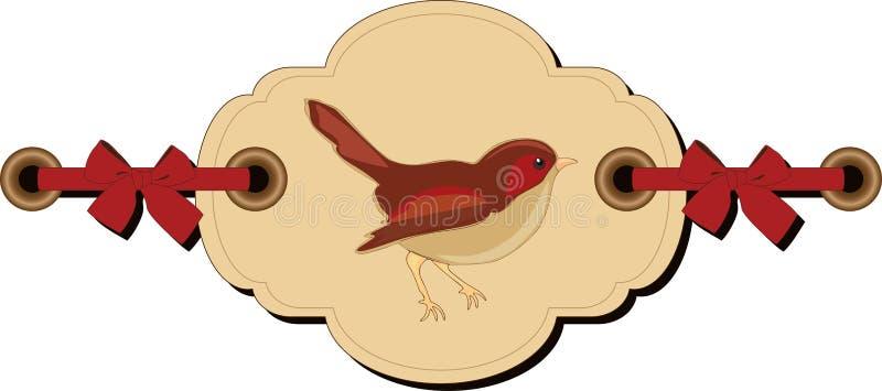 Retro tag with bird vector illustration