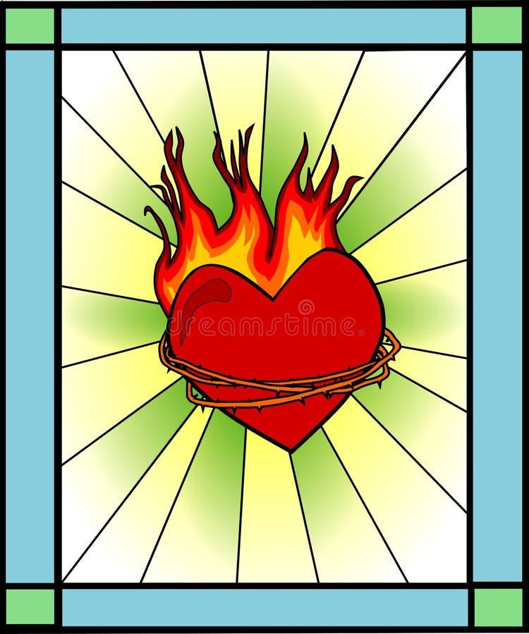 Retro tained szkło - serce na ogieniu ilustracji