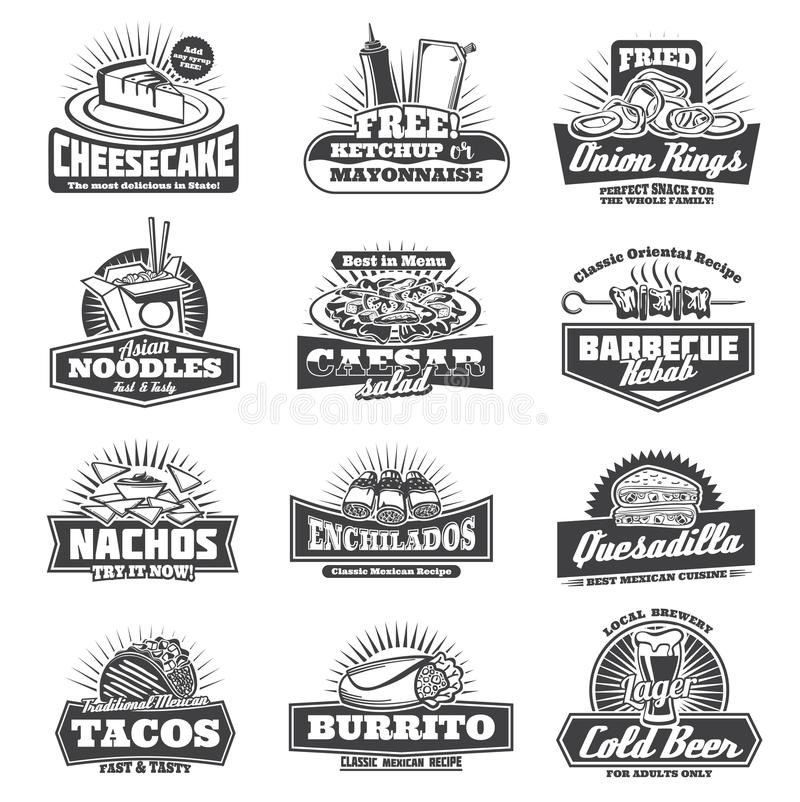 Retro takeaway fastfood vector monochrome icons stock illustration