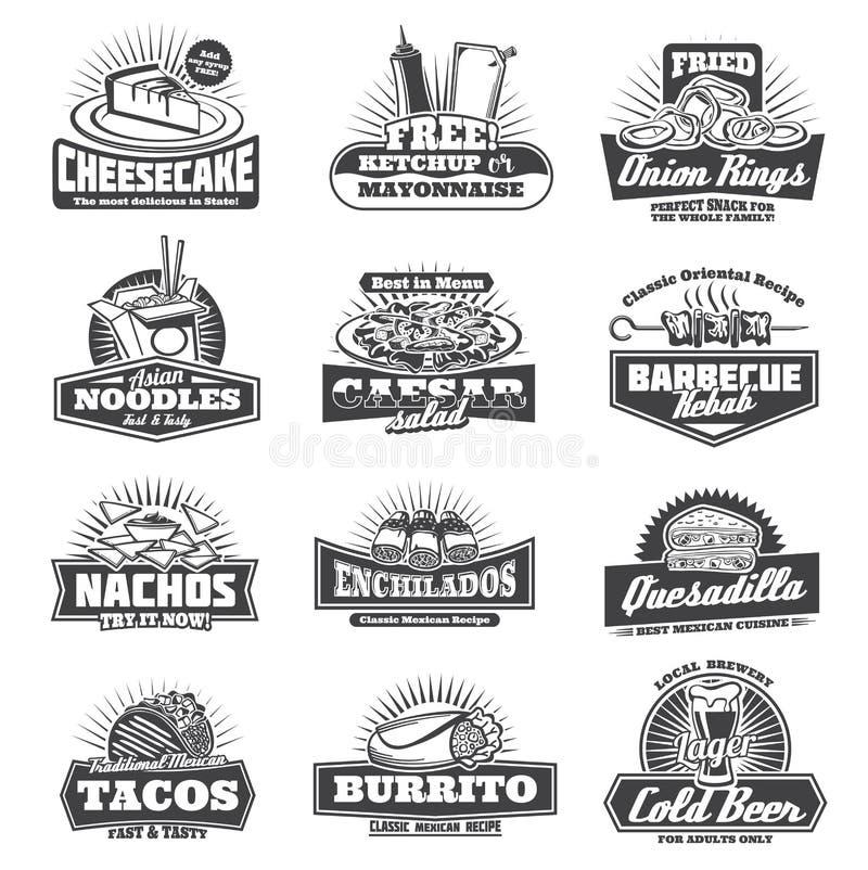 Retro takeaway fastfood wektorowe monochromatyczne ikony ilustracji