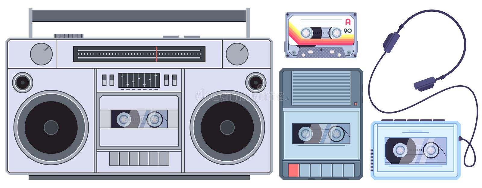 Retro tape player. Vintage cassette music players, old sound recorder and audio cassettes vector illustration set royalty free illustration