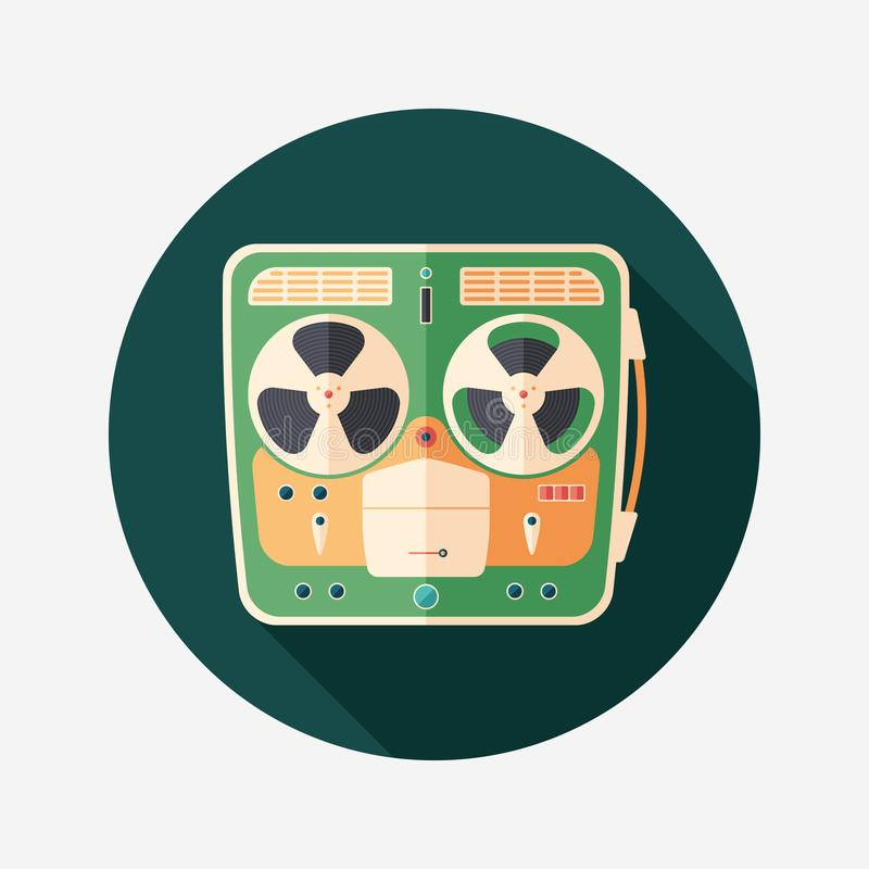 Retro tape recorder flat round icon with long shadows. vector illustration
