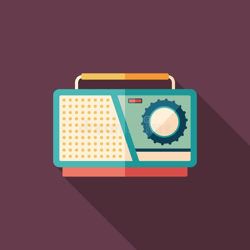 Retro tape recorder flat square icon with long shadows. stock illustration