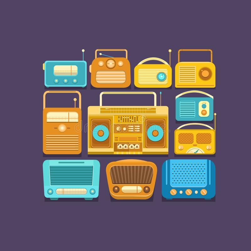 Retro tape recorders and radios stock images
