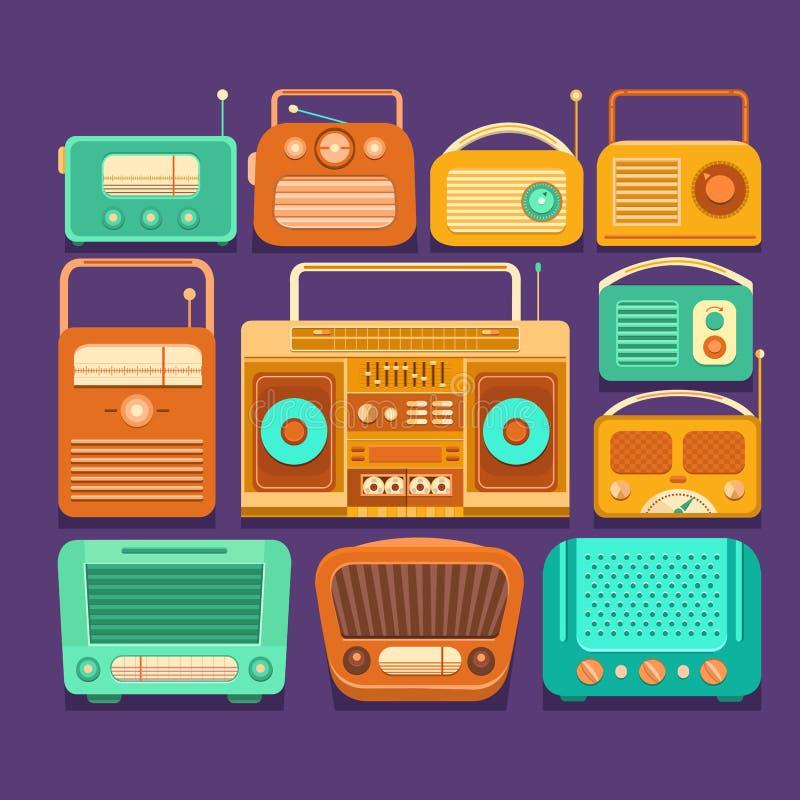 Retro tape recorders and radios royalty free stock photos