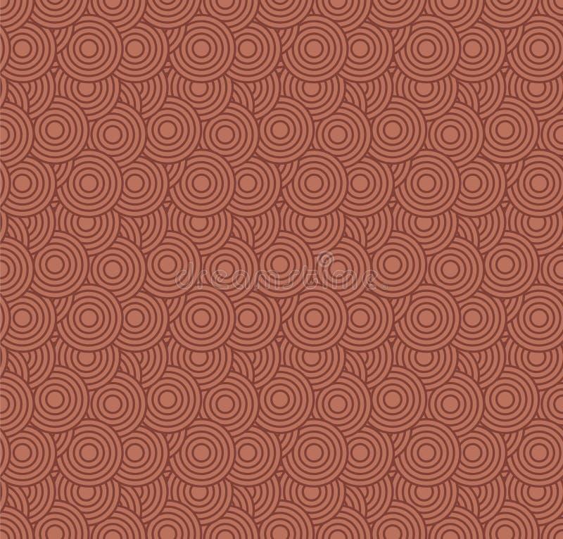 Retro- Tapete Abstraktes nahtloses geometrisches Muster mit Kreisen auf Rot stock abbildung