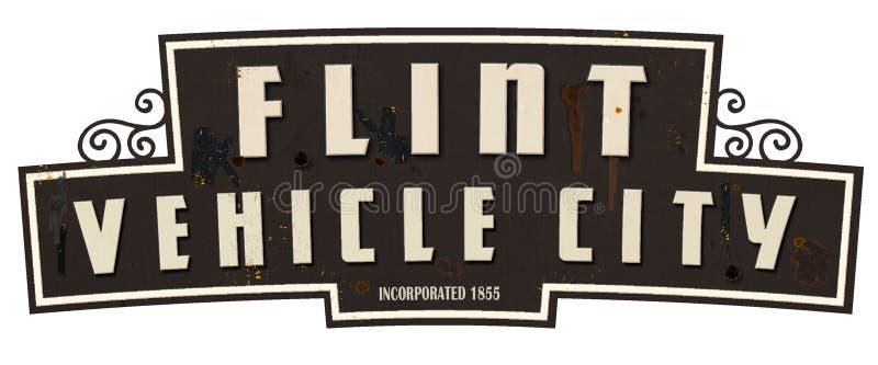 Retro tappning för Flint Michigan Vehicle City Limits tecken royaltyfria bilder