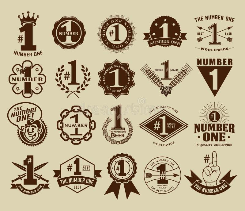 Retro tappning numret ett nr. 1 förseglar och förser med märke samlingen royaltyfri illustrationer