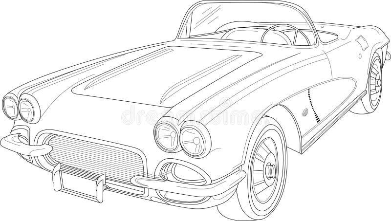 Retro tappningbil med översikter Vektorillustration i svartvitt royaltyfri illustrationer