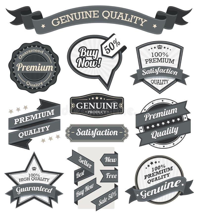 Retro tappningemblem, etikett och baneruppsättning stock illustrationer