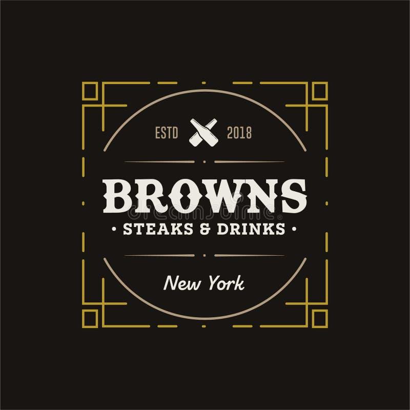 Retro tappningemblem för vektor eller Hipster Logo Identity för tecken för affär för logotypdesignbeståndsdelar royaltyfri illustrationer