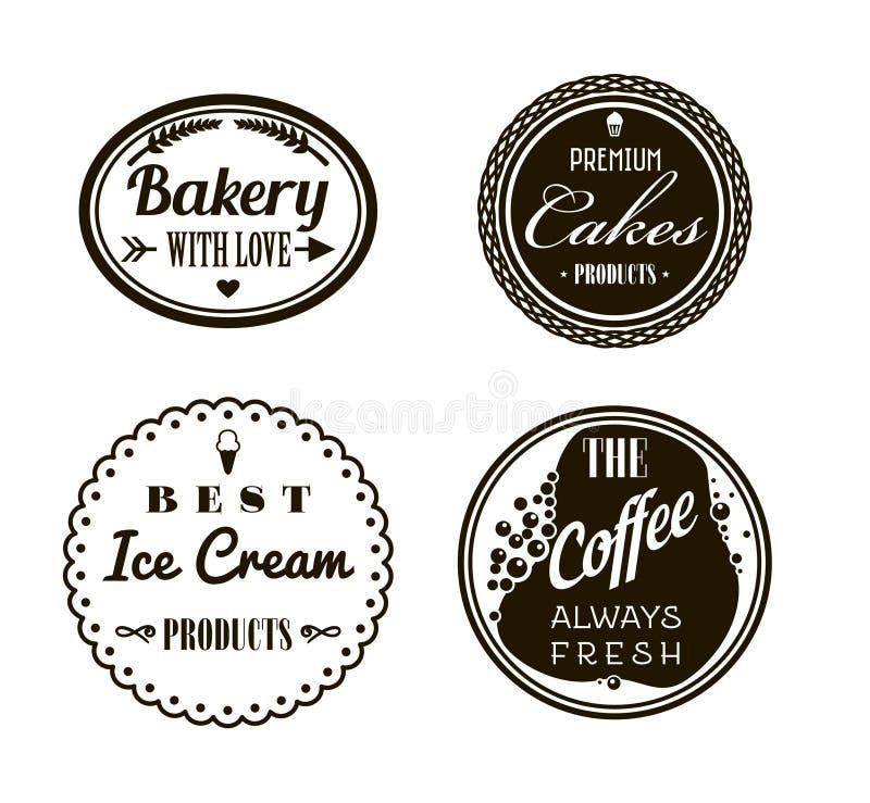 Retro tappninggradbeteckning- eller logotypuppsättning Vektordesignbeståndsdelar, affär undertecknar, logoer, identiteten, etiket vektor illustrationer