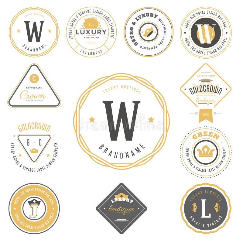 Retro tappninglogotypuppsättning Vektordesignbeståndsdelar, affär undertecknar, logoer, identiteten, etiketter, emblem royaltyfri illustrationer