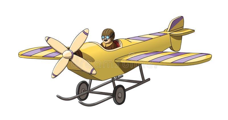 Retro tappningpilot för tecknad film i hans nivå Format för vektor EPS-10 stock illustrationer