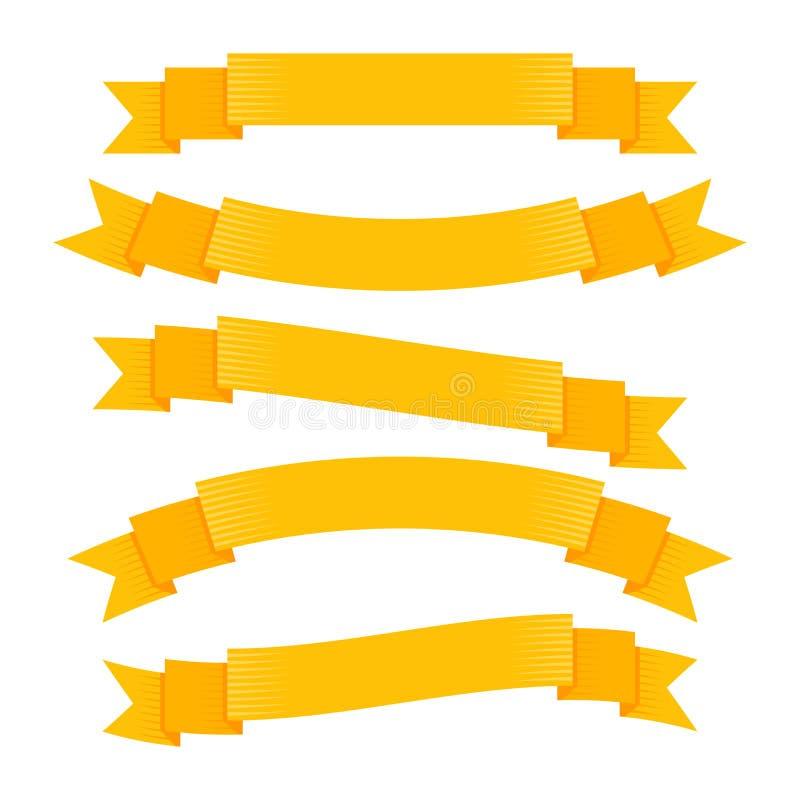 Retro tasiemkowi sztandary w ręka rysującym rytownictwie projektują wektor royalty ilustracja