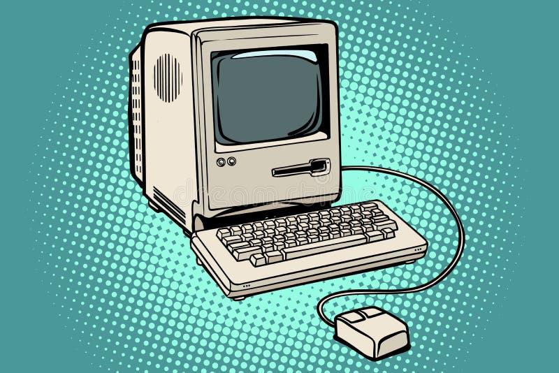 Retro tastiera e topo del monitor del computer illustrazione vettoriale