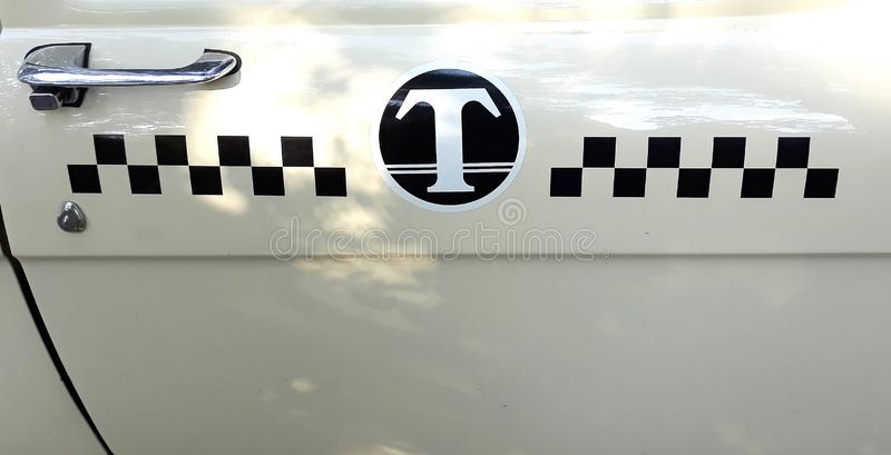Retro taxi ussr volga 1950. With mark sign cubes like chess royalty free stock image