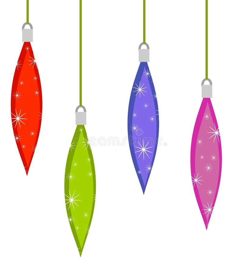 Retro Teardrop Xmas Ornaments. A clip art illustration of 4 retro Christmas teardrop ornaments in blue, green and red with star patterns isolated on white royalty free illustration