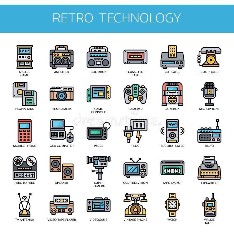 Retro- Technologie, Pixel-perfekte Ikonen stockbilder