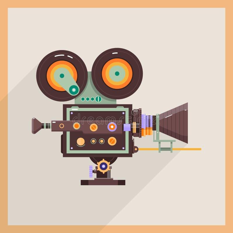 Retro Technology Icon Camcorder. Professional Video Camera. Vector illustration stock illustration