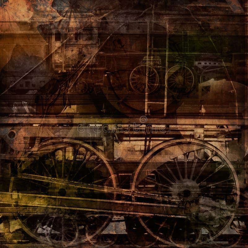 Retro technology, old trains, grunge background. Texture royalty free illustration