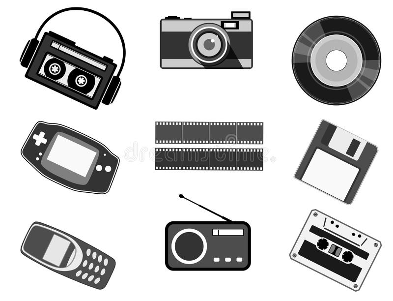 Retro technology , vintage icons in black and white. An illustration; in contrast black and white, about some technological devices used in past decades royalty free illustration