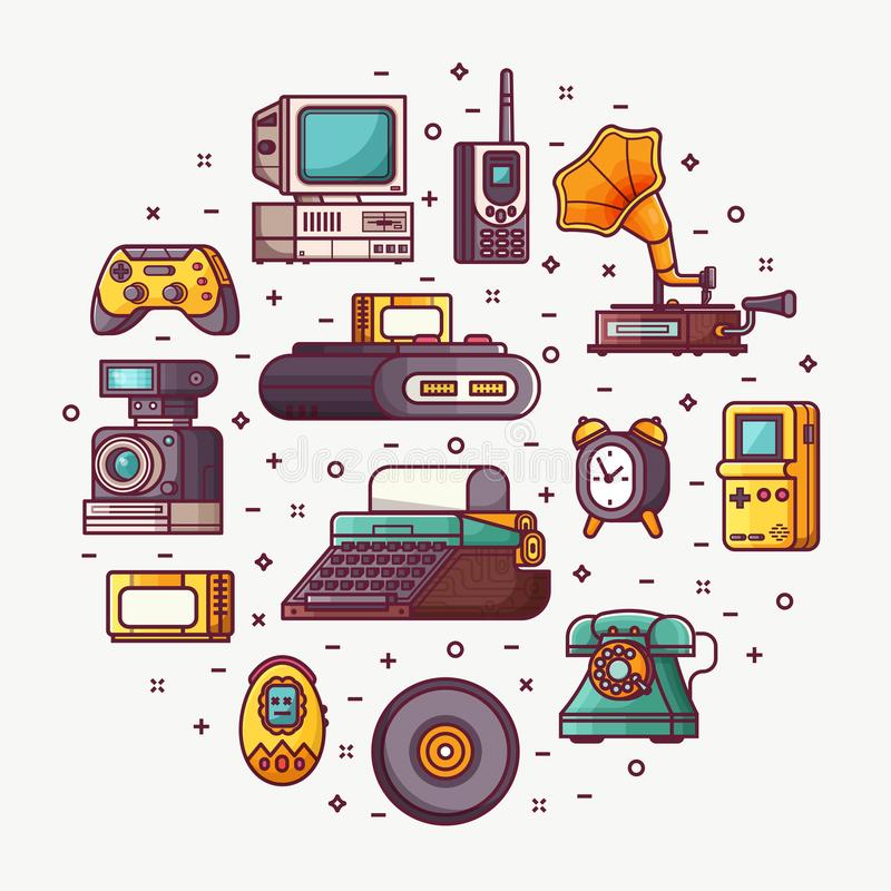 Retro Technology and Vintage Things Card. Vintage technology, things and objects. Flea market or antiques shop card with line icons stylized in circle. Old stock illustration