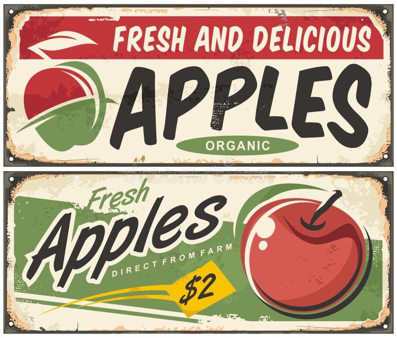 Retro tecken för äpplen stock illustrationer