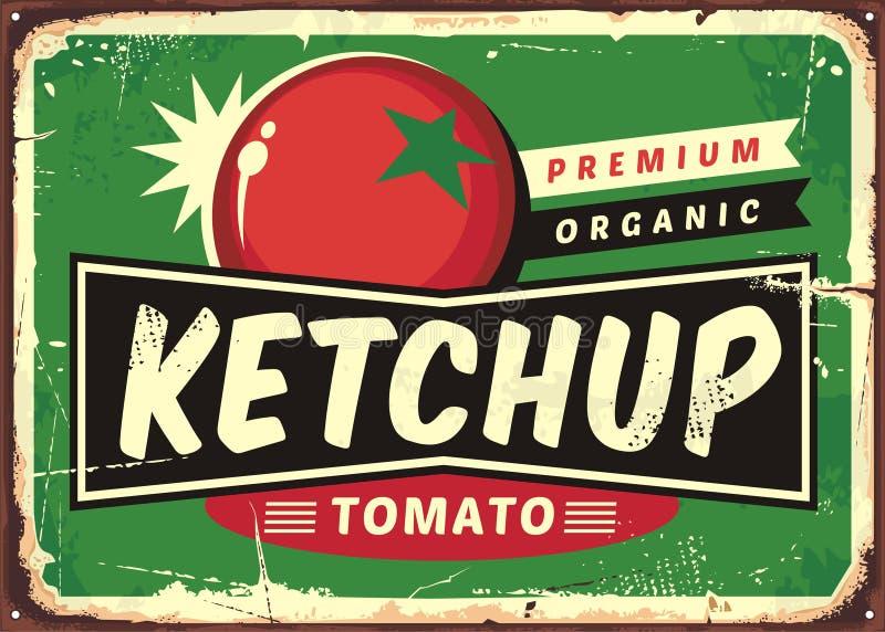 Retro tecken för ketchup med den saftiga tomaten royaltyfri illustrationer