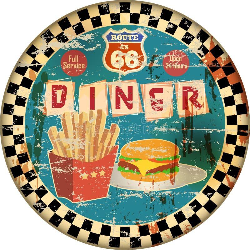 Retro tecken för matställe för emaljrutt 66, royaltyfri illustrationer