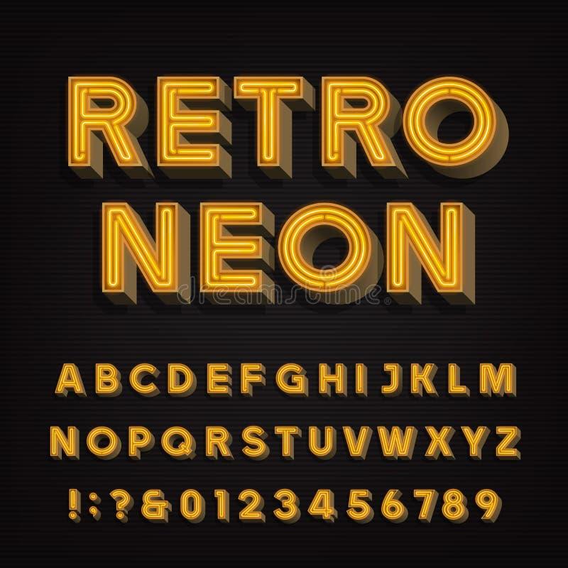 Retro teckenalfabet neon för tappning 3D märker och nummer Skyltstilsort stock illustrationer