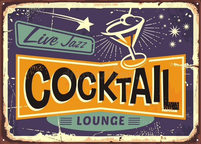 Retro teckendesign för cocktailbar stock illustrationer