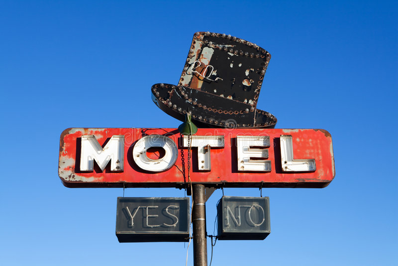 retro teckenstil för motell royaltyfria foton