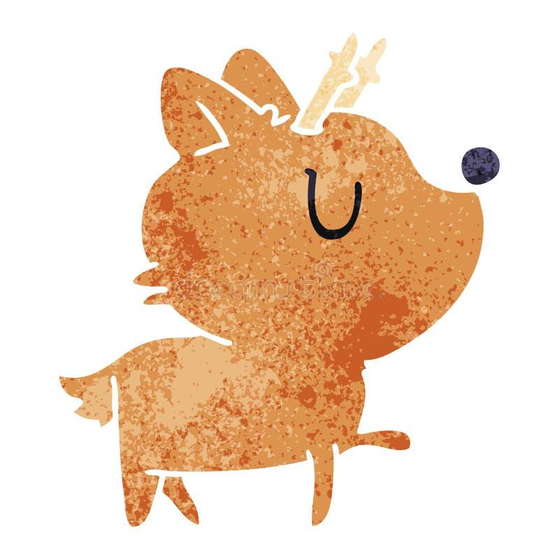 retro tecknad film av gulliga hjortar f?r kawaii stock illustrationer