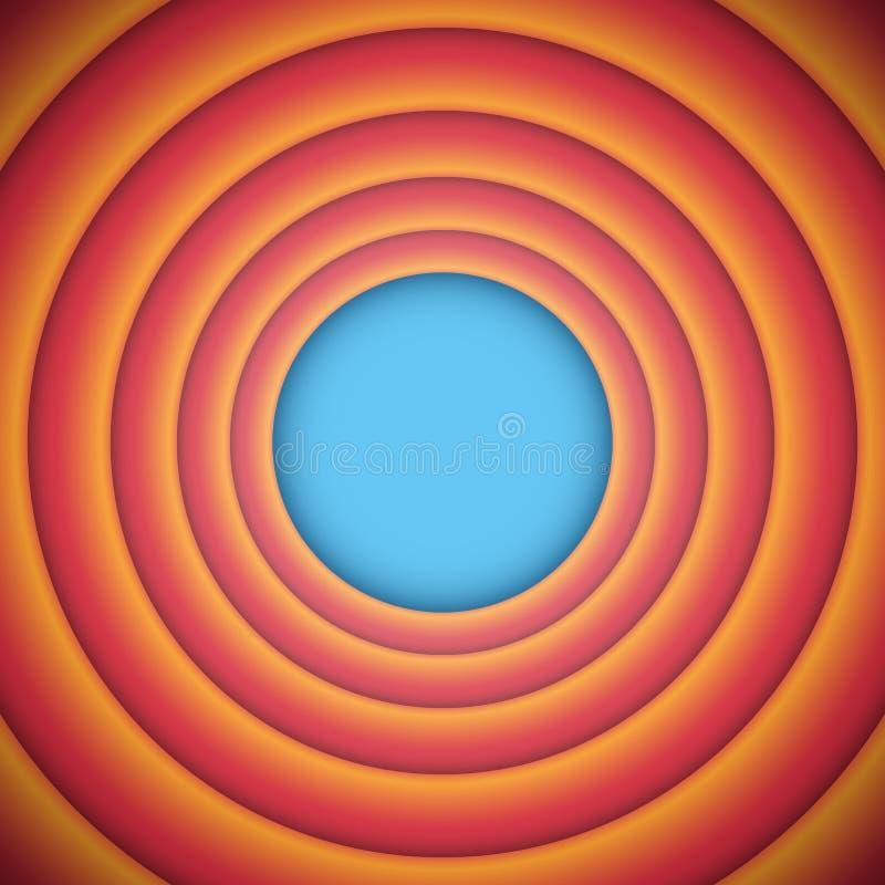 Retro tecknad film och gammal modefilm slutbakgrundsillustrationen, mall för vektor för tappningändelseskärm i rött och orange royaltyfri illustrationer