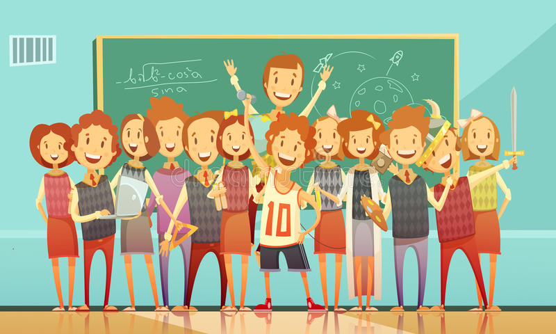 Retro tecknad filmaffisch för traditionell skolutbildning royaltyfri illustrationer