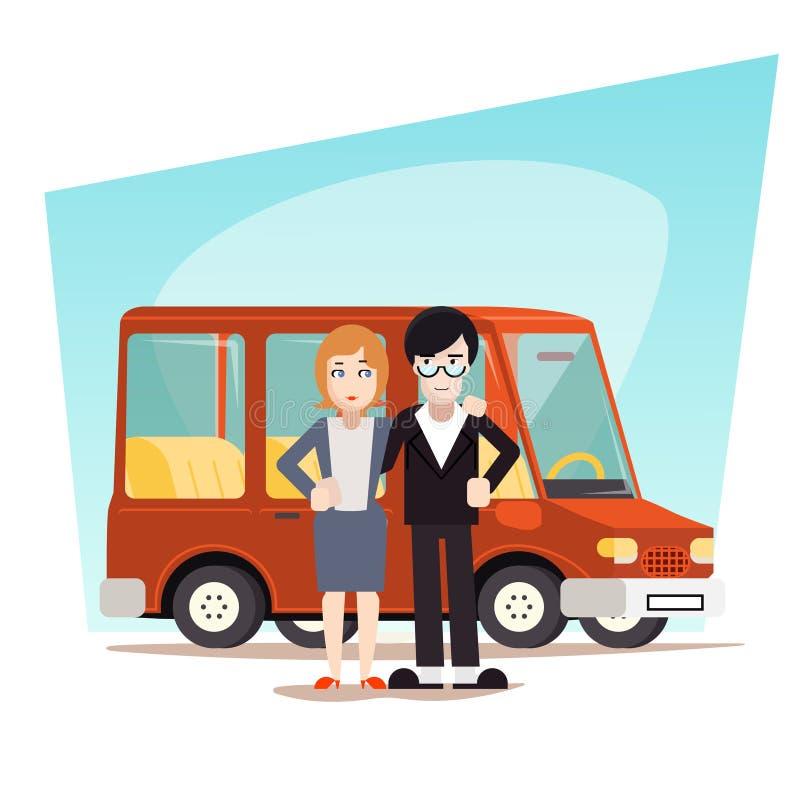 Retro tecknad filmfamilj med billoppet Van Icon stock illustrationer