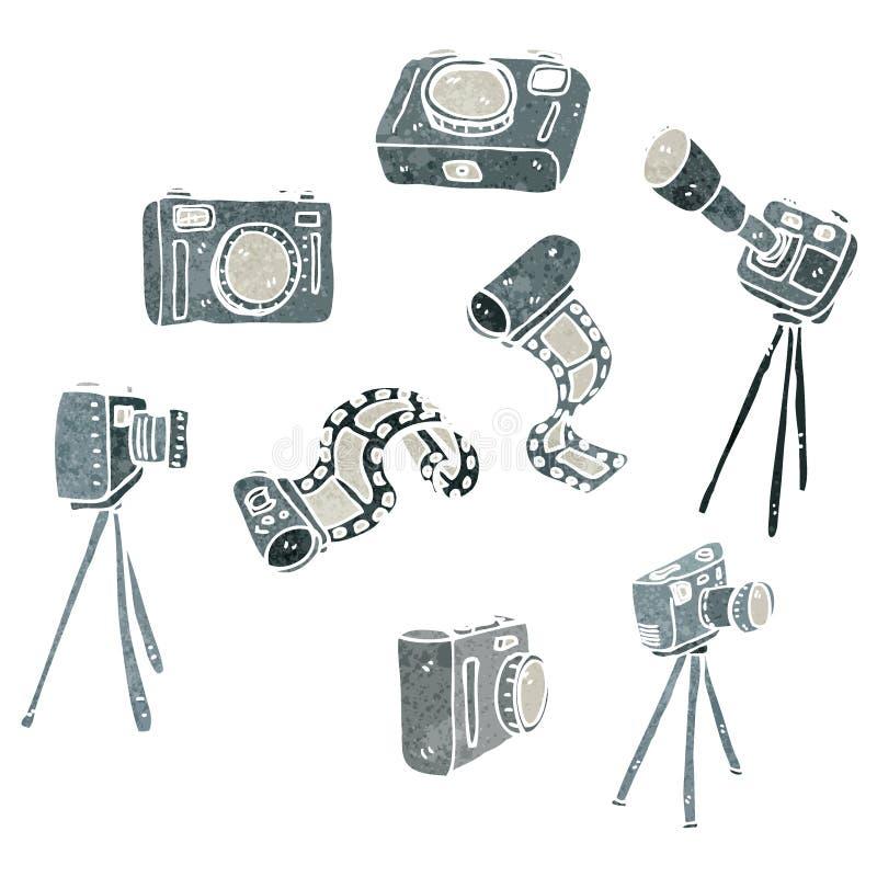 retro tecknad filmfotografiutrustning royaltyfri illustrationer