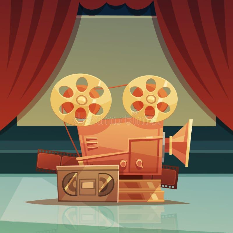 Retro tecknad filmillustration för bio royaltyfri illustrationer