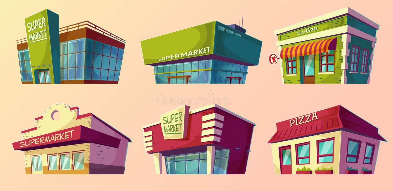 Retro tecknad filmillustrationer och modern supermarket, coffee shop, pizzeria stock illustrationer