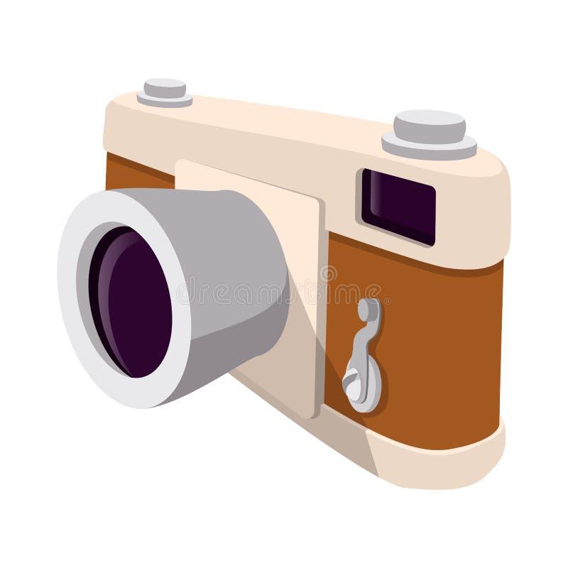 Retro tecknad filmsymbol för kamera vektor illustrationer