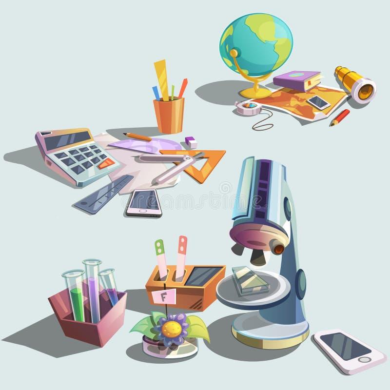 Retro tecknad filmuppsättning för vetenskap stock illustrationer