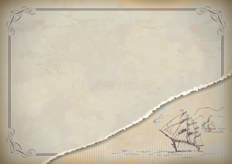 Retro teckning för tappningsegelbåt royaltyfri illustrationer