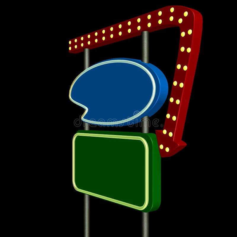 Retro Teken 1 van het Neon stock illustratie