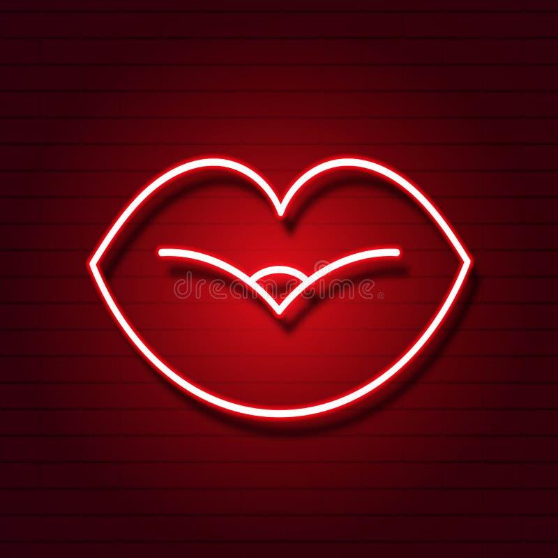 Retro teken van neonlippen Ontwerpelement voor de Gelukkige Dag van Valentine s Klaar voor uw ontwerp, groetkaart, banner Vector royalty-vrije illustratie