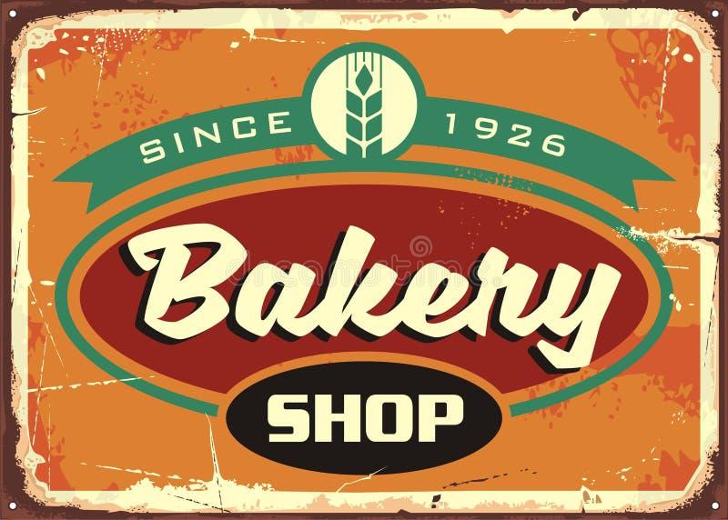 Retro tekenmalplaatje voor bakkerijwinkel vector illustratie