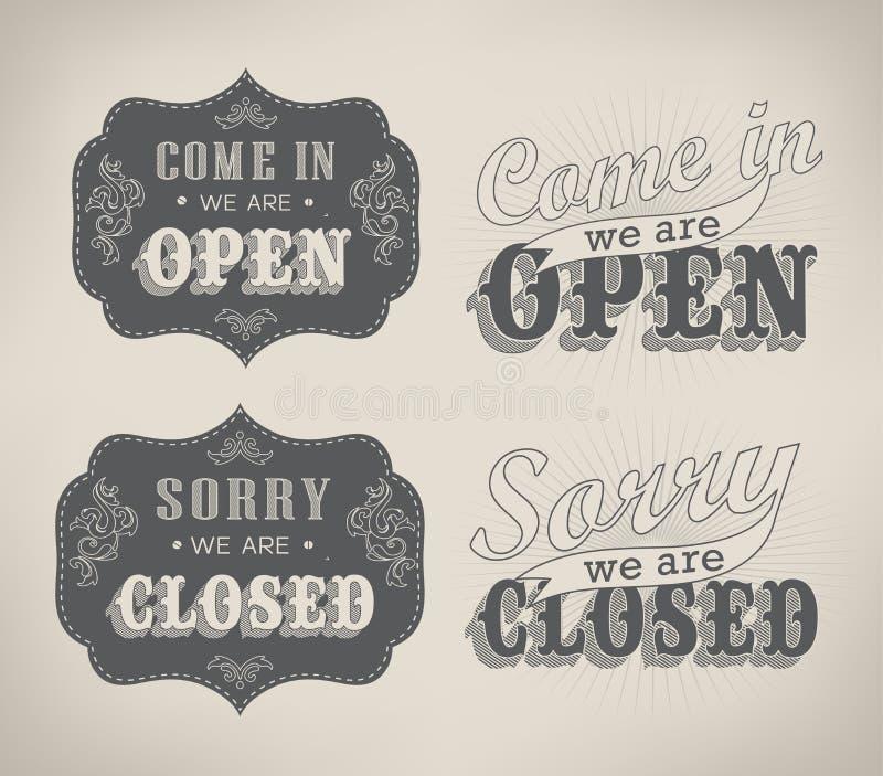 Retro tekens openen en sloten. Vectorillustratie. stock illustratie