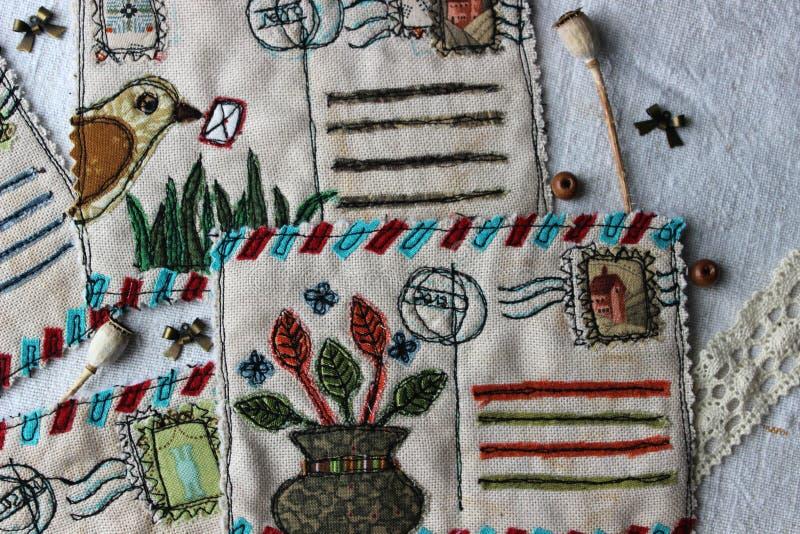 Retro tekstylne rocznik pocztówki obrazy stock