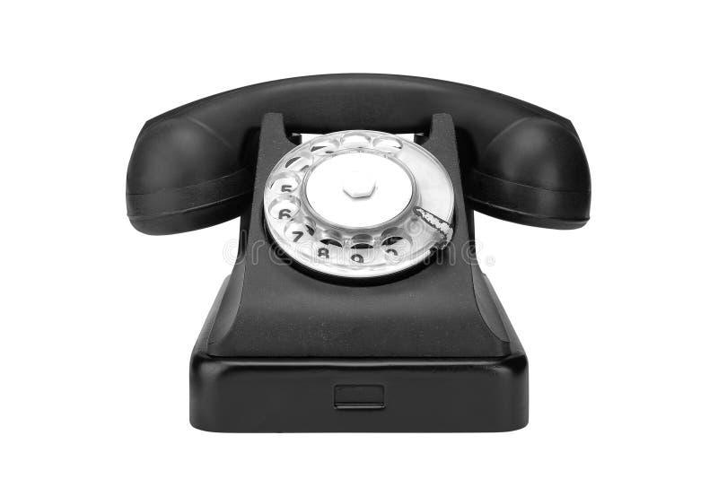Retro- Telefon der schwarzen Weinlese auf einem weißen Hintergrund stockfotografie