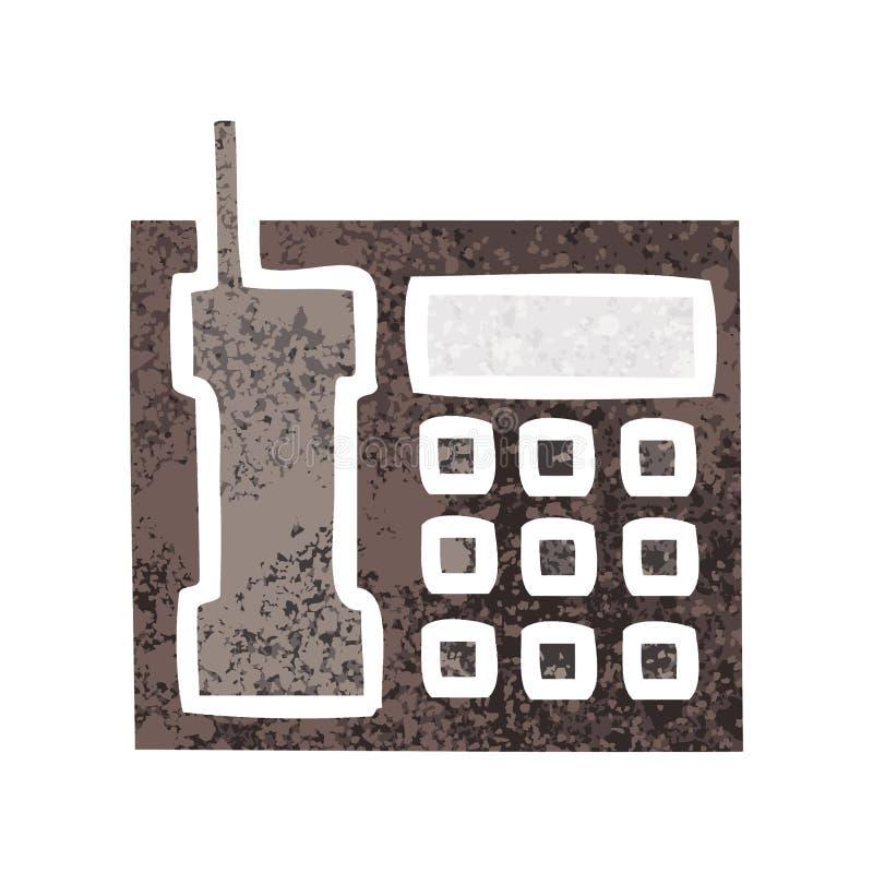 retro telefon f?r kontor f?r illustrationstiltecknad film vektor illustrationer